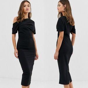 ASOS, Pleated Shoulder Pencil Dress, Black, 6